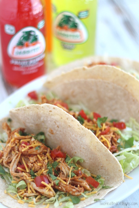 3-Ingredient Crock-Pot Chicken Tacos Recipe {www.TwoHealthyKitchens.com}