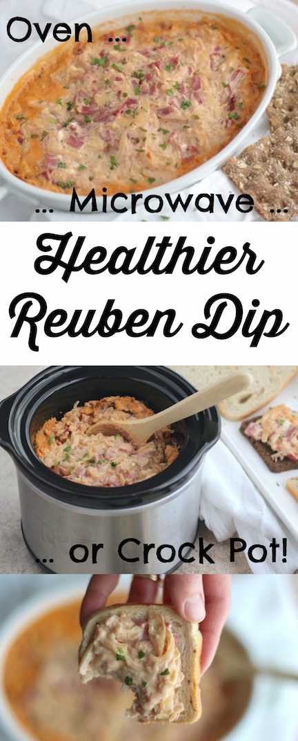 Healthier Reuben Dip Recipe (Oven, Microwave or Crock Pot Appetizer Recipe) {www.TwoHealthyKitchens.com}