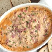 Healthier Reuben Dip (Oven, Microwave or Crock Pot Appetizer Recipe)