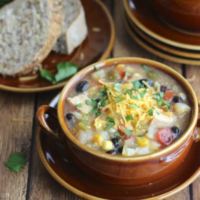 Crock Pot Southwestern Corn Chowder with Chicken and Green Chiles