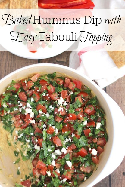 Baked Hummus Dip with Easy Tabouli Topping Recipe {www.TwoHealthyKitchens.com}