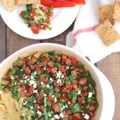 Baked Hummus Dip with Easy Tabouli Topping