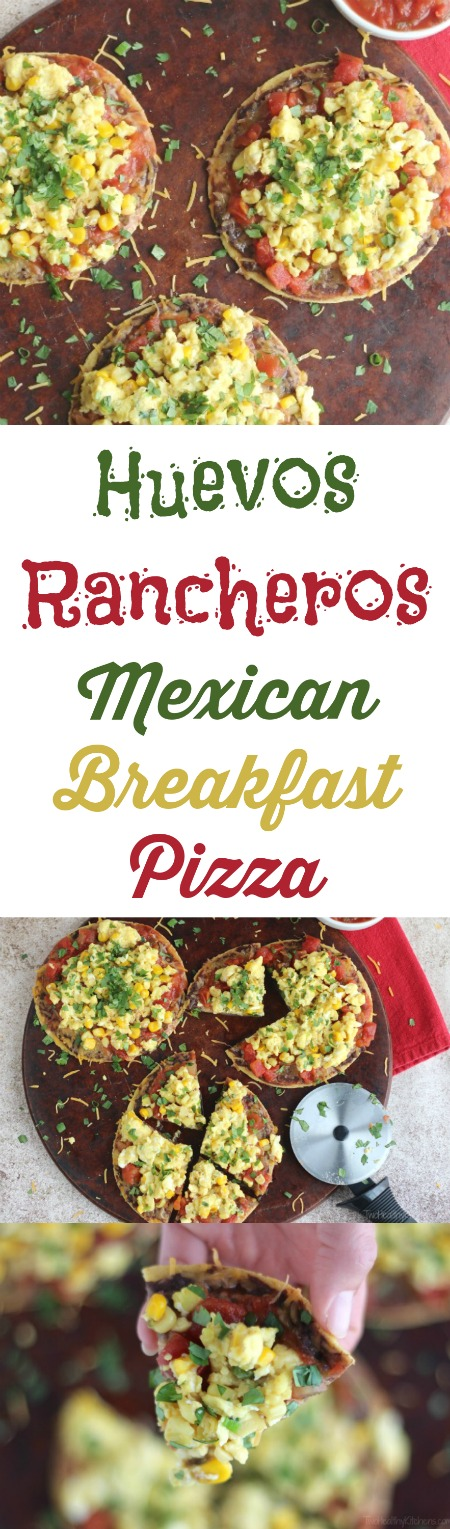 Huevos Rancheros Mexican Breakfast Pizza Recipe {www.TwoHealthyKitchens.com}