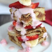 Stuffed French Toast Breakfast Casserole with Strawberries and Cream Topping