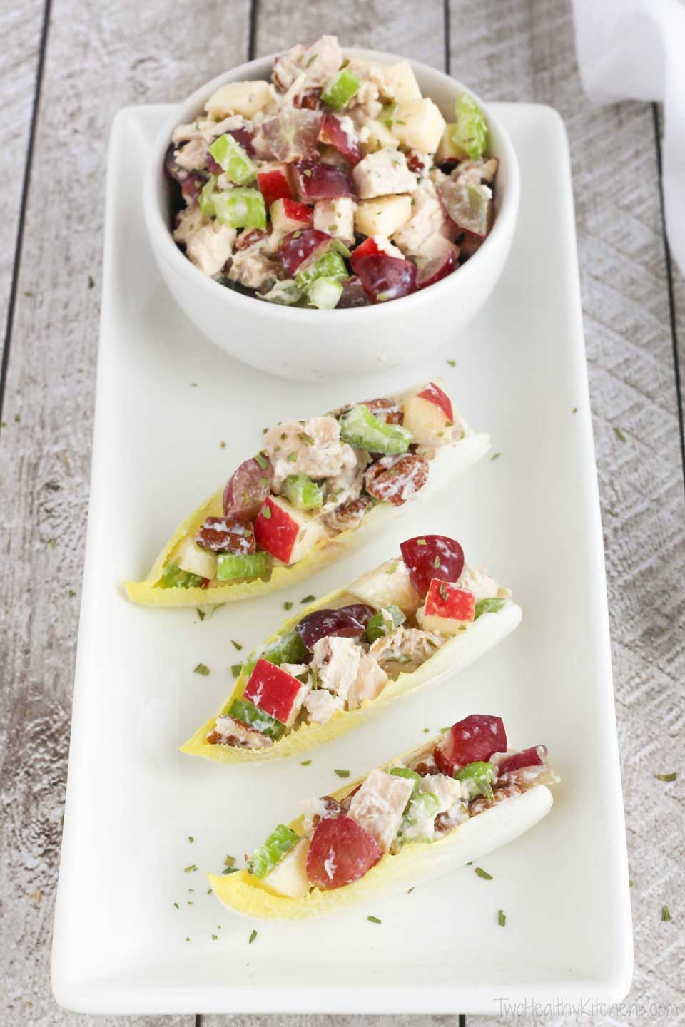 Surprise! Our healthy chicken salad recipe is also fantastic as an appetizer! Serve it in endive spears or with crackers!