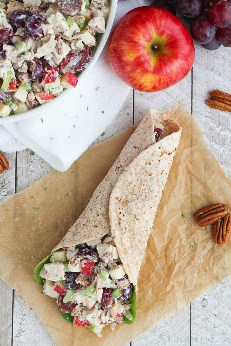 Healthy chicken salad sandwiches are always a hit, but we also love this recipe for chicken salad with grapes in a simple wrap – great for workday lunches!