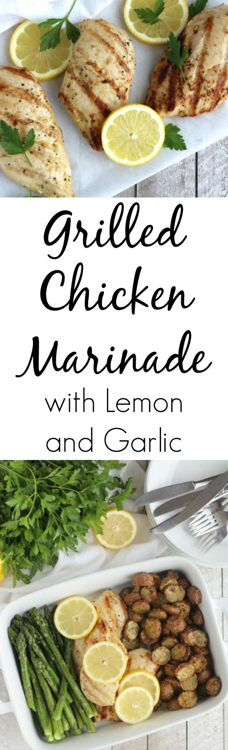 Grilled Chicken Marinade with Lemon and Garlic Recipe {www.TwoHealthyKitchens.com}