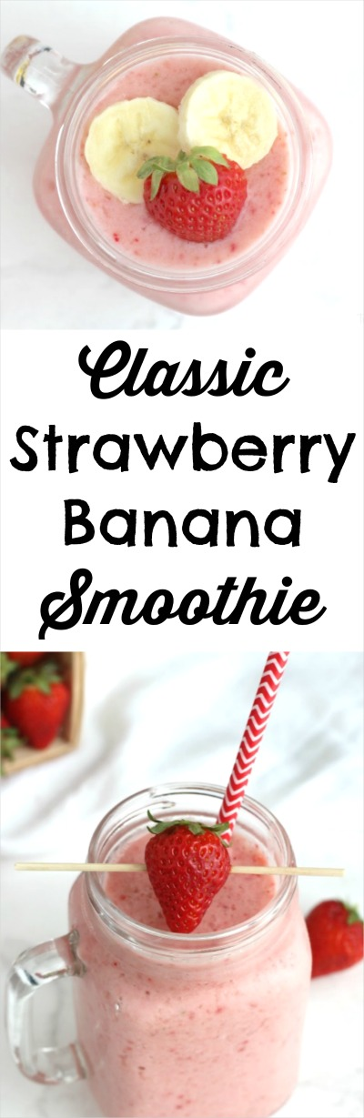 Classic Strawberry Banana Smoothie Recipe {Two Healthy Kitchens}