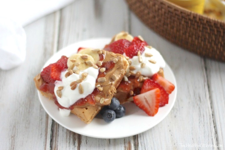 "Waffle Sundae Bar Recipe (for Brunch, Dessert or ""Brinner""!) {www.TwoHealthyKitchens.com}"