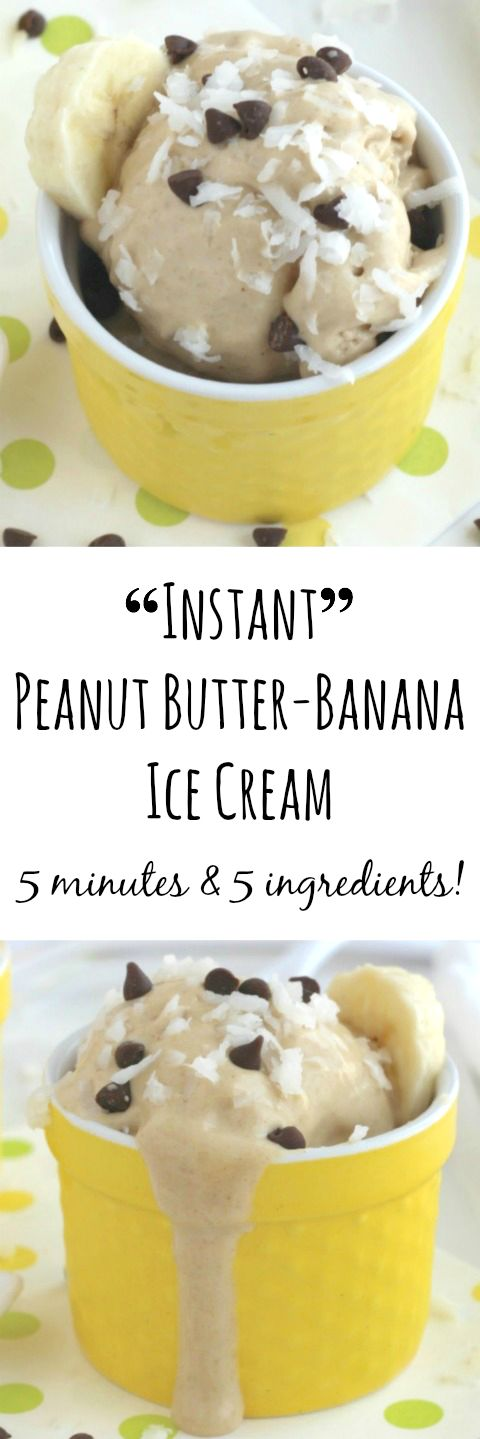 """""""Instant"""" Peanut Butter-Banana Ice Cream (Just 5 Minutes and 5 Ingredients!) {www.TwoHealthyKitchens.com}"""