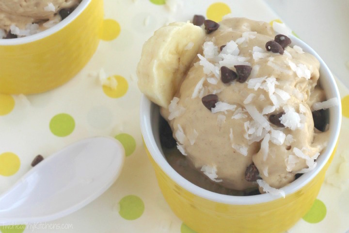 """Instant"" Peanut Butter-Banana Ice Cream (Just 5 Minutes and 5 Ingredients!) {www.TwoHealthyKitchens.com}"