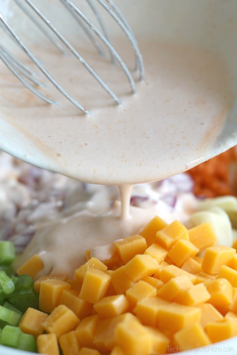 Buffalo Chicken Pasta Salad Recipe {www.TwoHealthyKitchens.com}