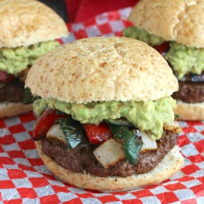 Easy Grilled Fajita Burgers with Guacamole