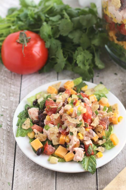 Easy 7-Layer Chicken Taco Salad Recipe {www.TwoHealthyKitchens.com}