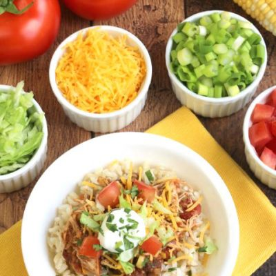 Easy Crock Pot Chicken Burrito Bowls