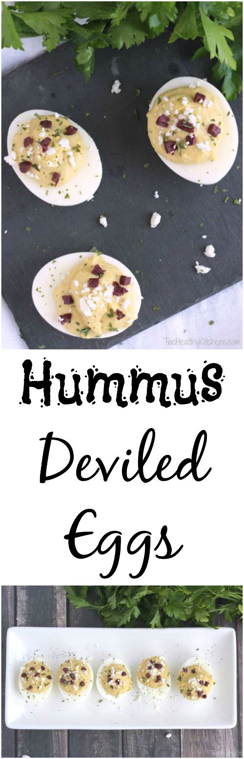 Hummus Deviled Eggs Recipe {www.TwoHealthyKitchens.com}