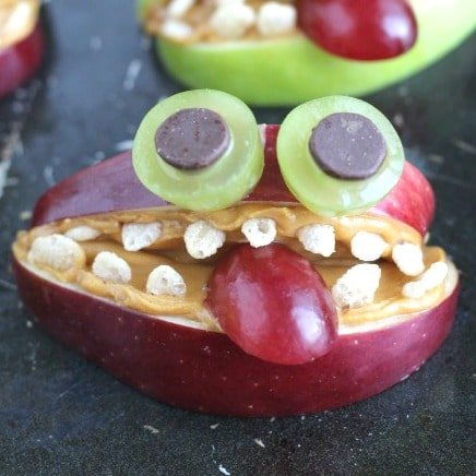 Apple Monsters A Nut Free Healthy Halloween Treat Two Healthy Kitchens