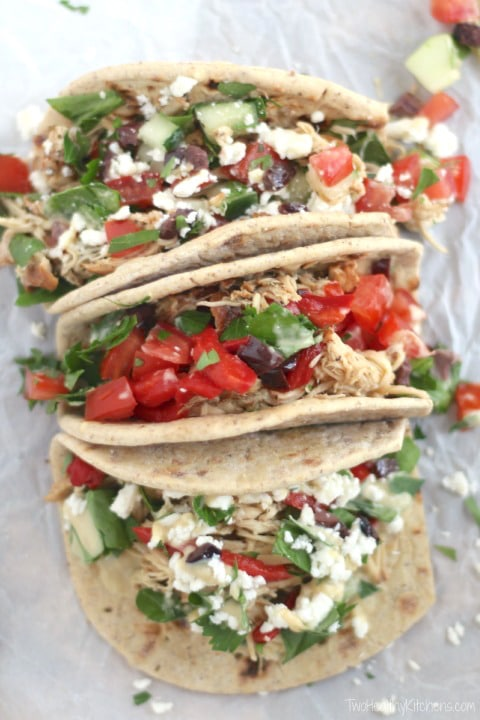 Mediterranean Crock Pot Chicken Taco Bar Recipe {www.TwoHealthyKitchens.com}