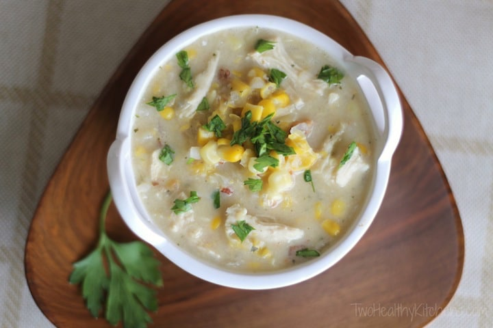 Crock-Pot Creamy Chicken Corn Chowder Recipe {www.TwoHealthyKitchens.com}