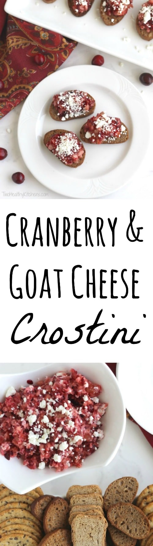 Cranberry and Goat Cheese Crostini Recipe {www.TwoHealthyKitchens.com}