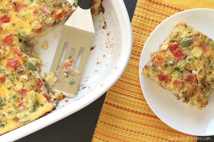 Farmers' Market Overnight Breakfast Egg Casserole ~ Two Healthy Kitchens