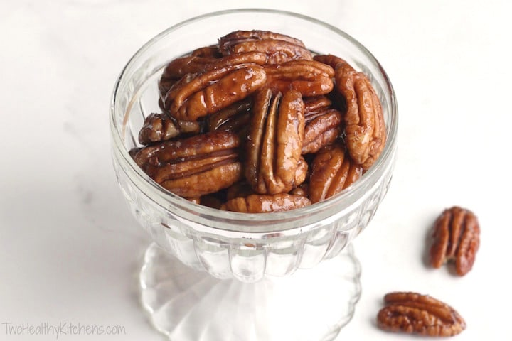 Easy Candied Pecans Recipe (Just 5 Minutes and 4 Ingredients!) {www.TwoHealthyKitchens.com}