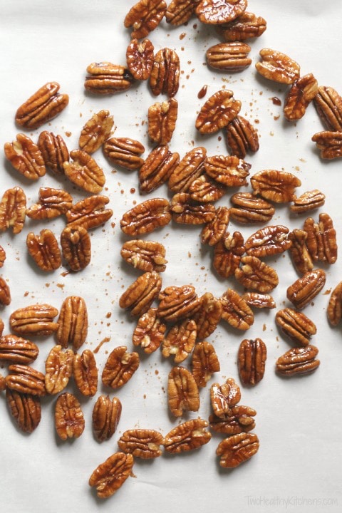 Pumpkin Pie Spiced Candied Pecans Recipe {www.TwoHealthyKitchens.com}