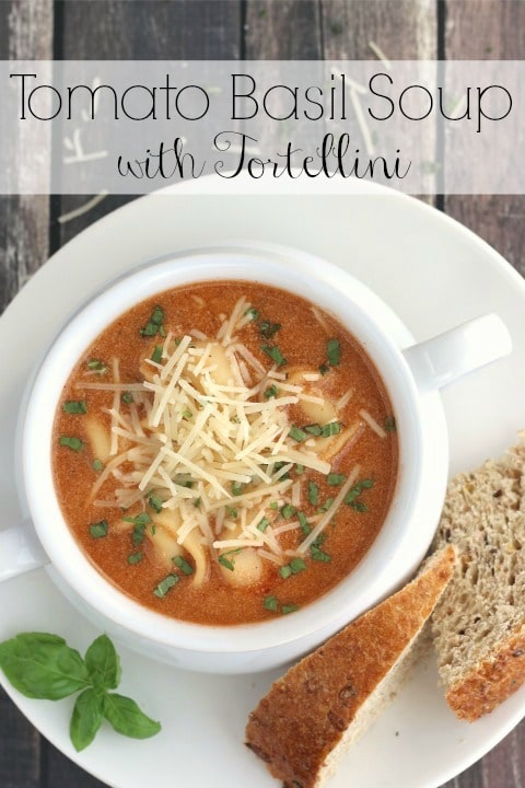 Tomato Basil Soup with Tortellini Recipe {www.TwoHealthyKitchens.com}