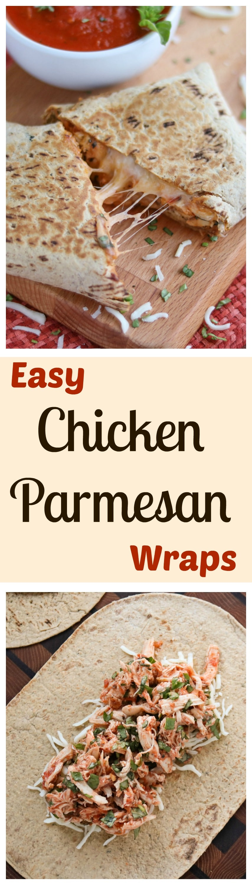 Easy Chicken Parmesan Wraps AD {www.TwoHealthyKitchens.com}