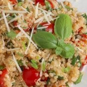 Easy, Healthy Chicken Salad with Quinoa, Tomatoes, Lemon and Basil
