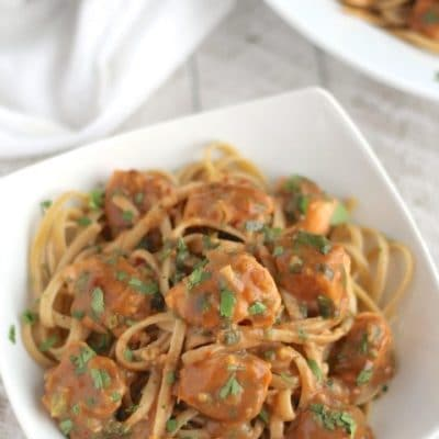 Super-Fast Asian Salmon Pasta with Easy Peanut Sauce