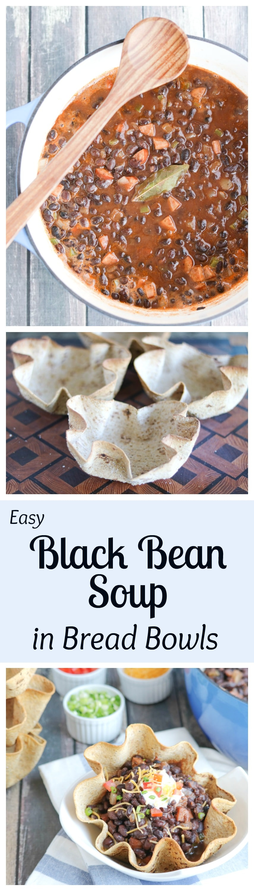 This Easy Black Bean Soup is rich, hearty and filling - and cooks in just 20 minutes! And those crispy-crunchy Cumin-Dusted Bread Bowls? You'll have 'em in the oven in 3 minutes, flat ... and you can even make them days in advance! AD | www.TwoHealthyKitchens.com