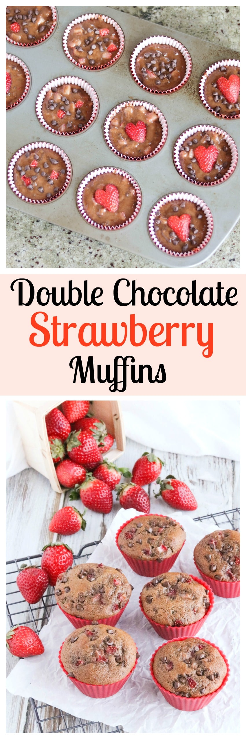 These Healthy Double Chocolate Muffins with Fresh Strawberries are loaded with rich chocolate flavor and juicy berries! So decadent, yet full of whole grains and much lower in fat! Perfect for snacks and on-the-go breakfasts! | www.TwoHealthyKitchens.com