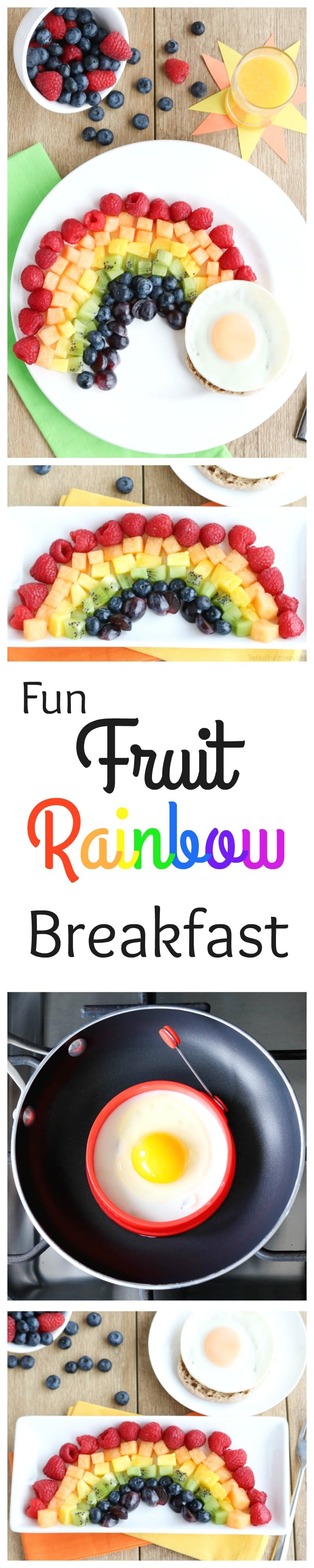 Your kids will love this Fruit Rainbow Breakfast recipe … complete with a pot o' gold! And you'll love all the great nutrition - literally eating a rainbow! A fun, healthy breakfast idea! | www.TwoHealthyKitchens.com
