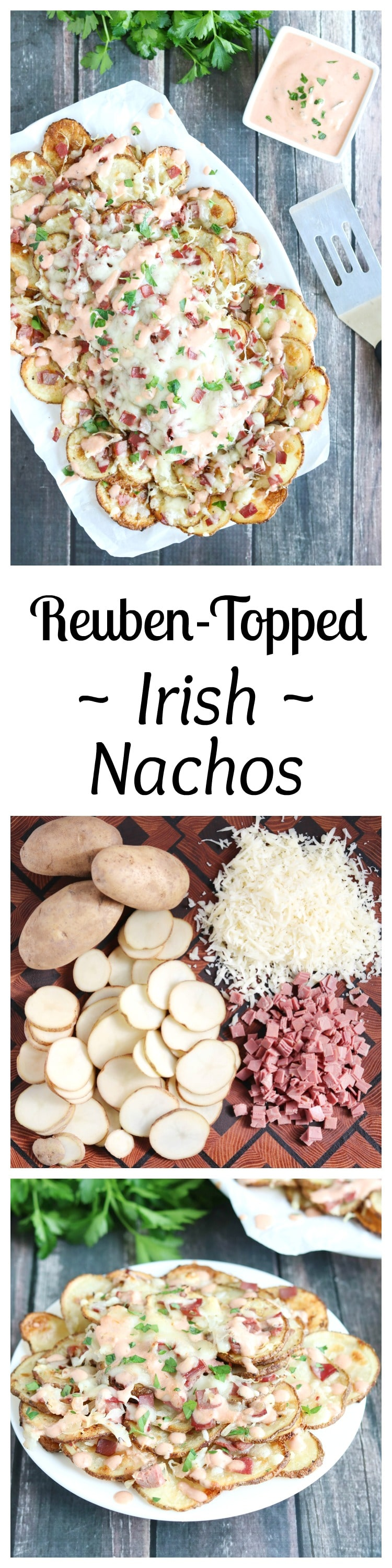 These Reuben-Topped Irish Nachos feature seasoned, oven-baked potato chips, plus delicious toppings loaded with the ever-popular flavors of a reuben sandwich! Easy to make, seriously delicious! | www.TwoHealthyKitchens.com