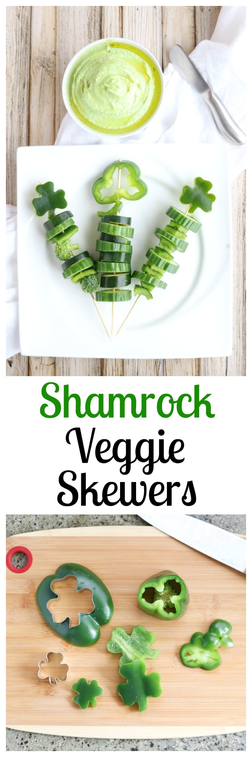 These easy Shamrock Veggie Skewers are a perfect St. Patrick's Day appetizer for parties - and a fun, healthy after-school snack! | www.TwoHealthyKitchens.com