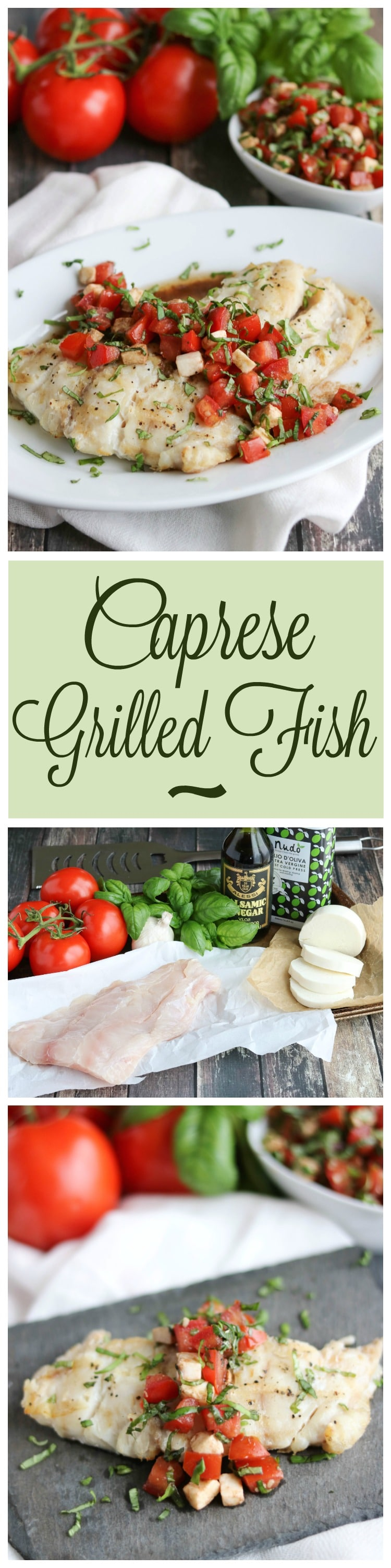 Caprese Grilled Fish is super simple yet incredibly delicious - perfect with summer's best tomatoes and basil! An easy grilling recipe for cookouts or casual family suppers! | www.TwoHealthyKitchens.com