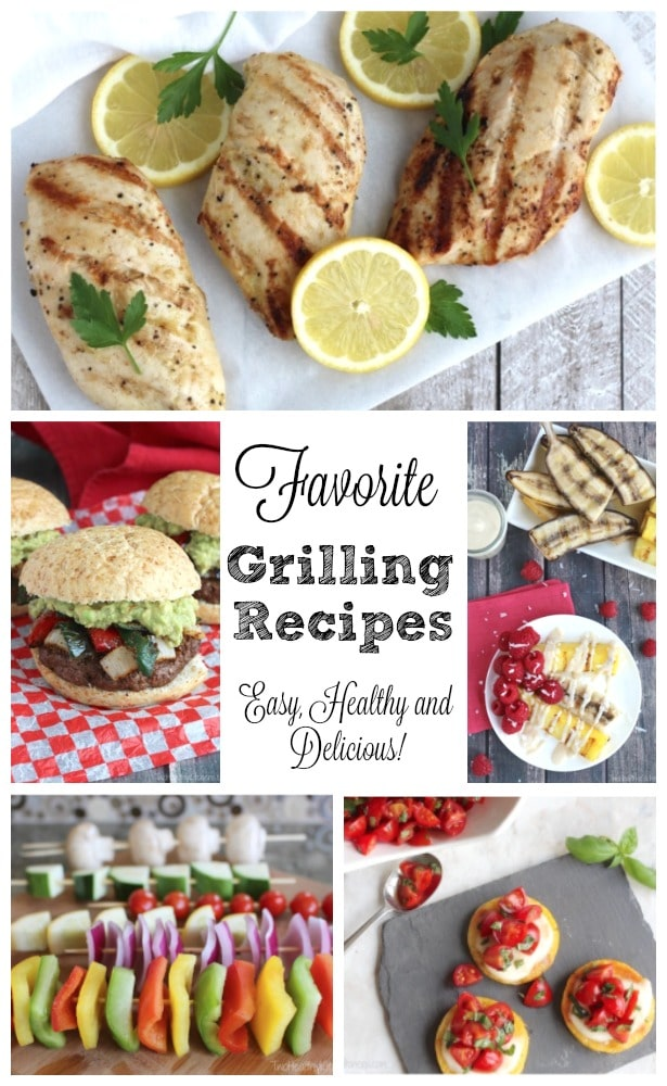 Grill Recipes for everything from appetizers to dessert, plus grilled chicken and unique burgers – even grilled pizza! Delicious, healthy grilling recipes your family will love all summer long! | www.TwoHealthyKitchens.com