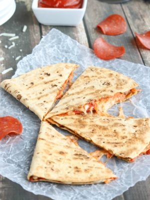5-Minute Pepperoni Pizza Quesadilla