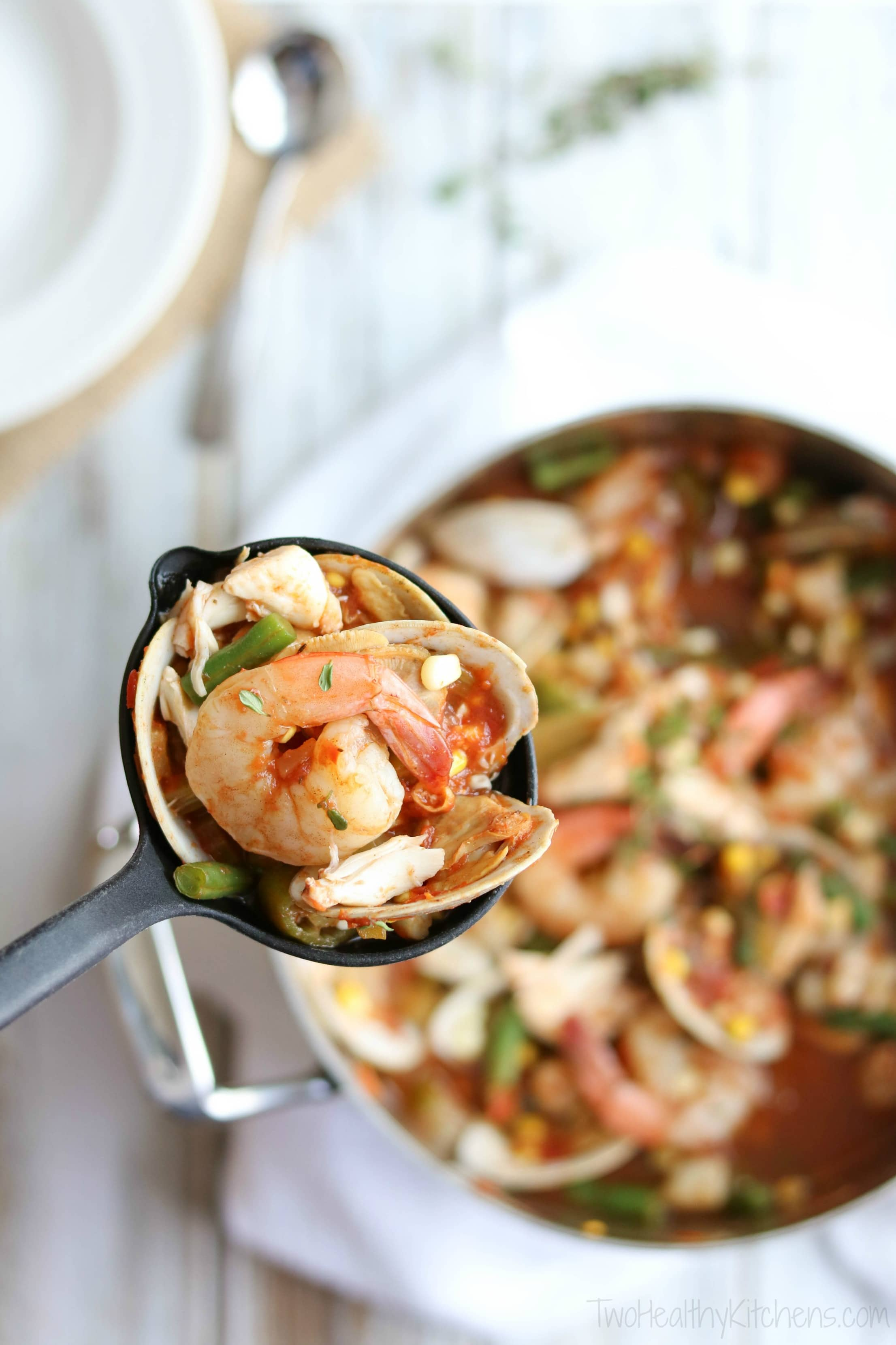 This Sea Island Seafood Stew is a showstopper for dinner parties! But with lots of make-ahead steps, it's also an easy family meal ... perfect when you need a little bit of beach in your life! It's a mainstay on the menu at the hugely popular Skull Creek Boathouse in Hilton Head, South Carolina. | www.TwoHealthyKitchens.com