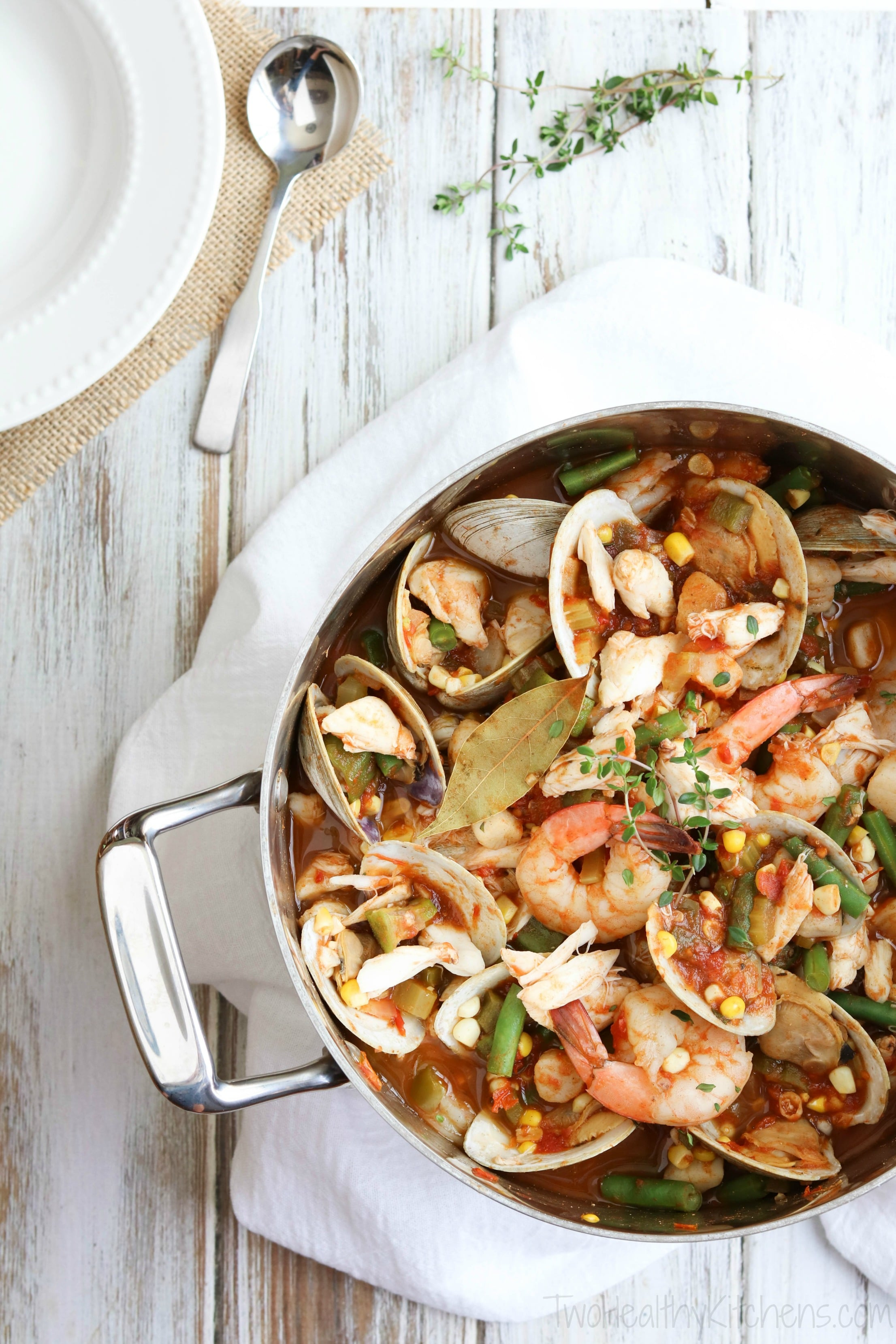 This Sea Island Seafood Stew is a showstopper for dinner parties! But with lots of make-ahead steps, it's also an easy family meal ... perfect when you need a little bit of beach in your life! It's a mainstay on the menu at the hugely popular Skull Creek Boathouse in Hilton Head, South Carolina.   www.TwoHealthyKitchens.com
