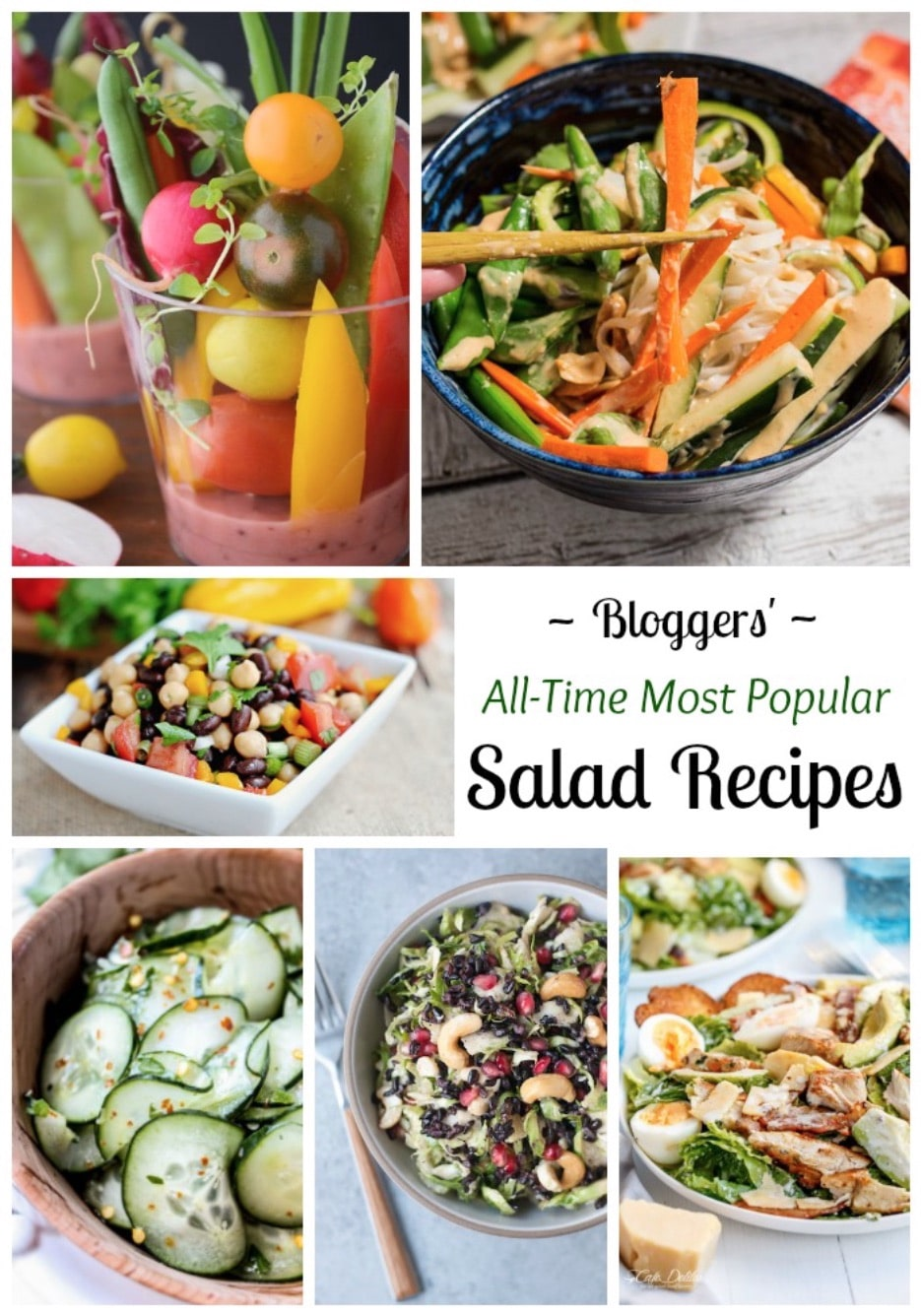 You'll love these #1 most popular, healthy salad recipes from top bloggers! From spring's rhubarb, to all those gorgeous summer veggies, to cranberries and butternut squash for the holidays - these salad recipes are year-round favorites! | www.TwoHealthyKitchens.com