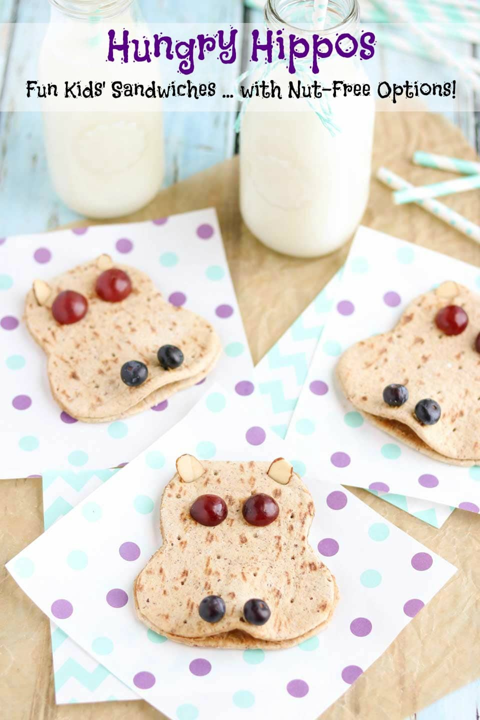Kids will love this adorable sandwich recipe! Use it as a fun edible art project ... or as a special little lunch box surprise! Choose basic peanut butter and jelly, or one of our other creative filling ideas (even lots of nut-free options for school lunches)! AD | www.TwoHealthyKitchens.com