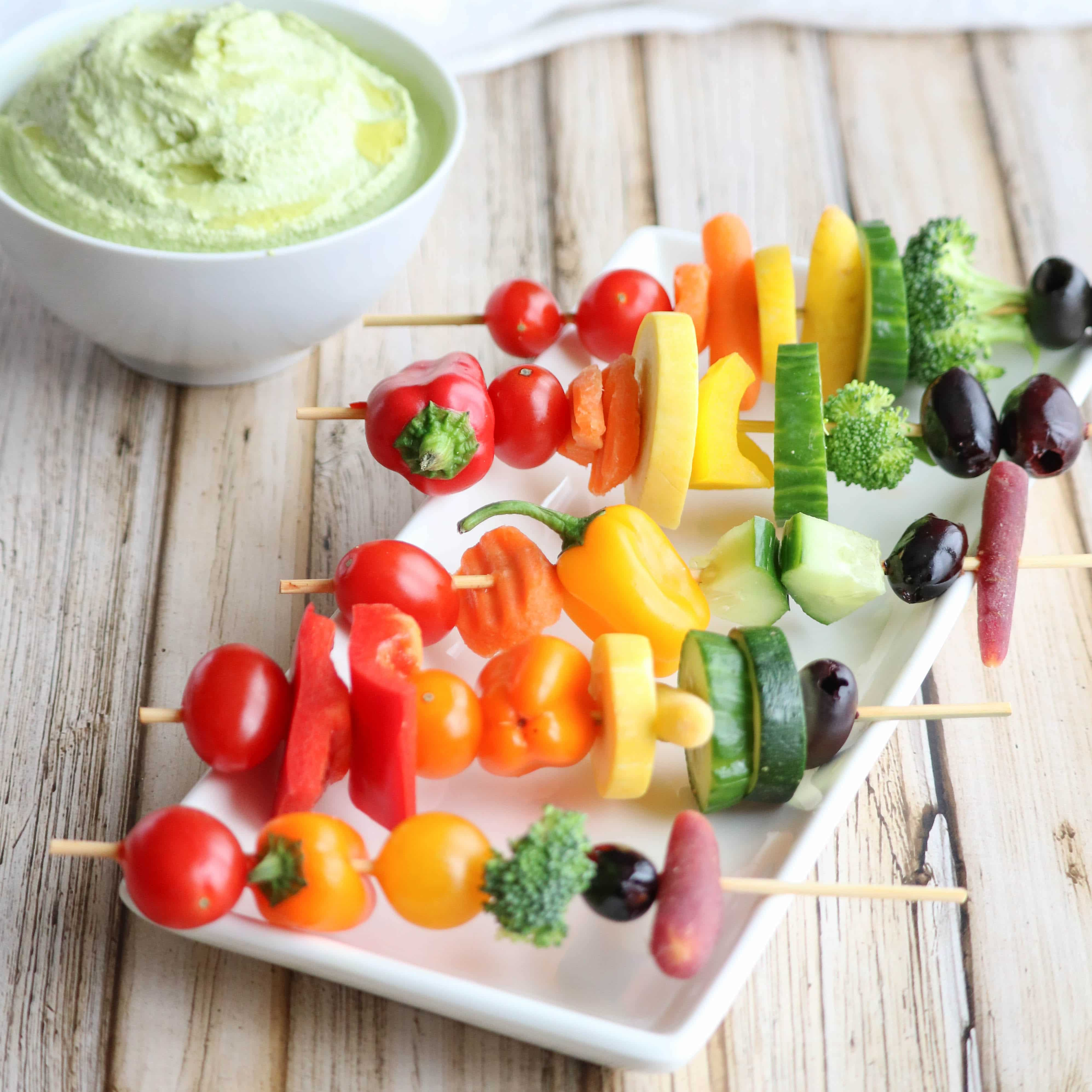 These Rainbow Veggie Kabobs are so much more fun than veggies and dip on that plain-old veggie tray! Perfect for picnics and parties! And a great way to inspire kids to eat more veggies - they'll love creating their own! | www.TwoHealthyKitchens.com