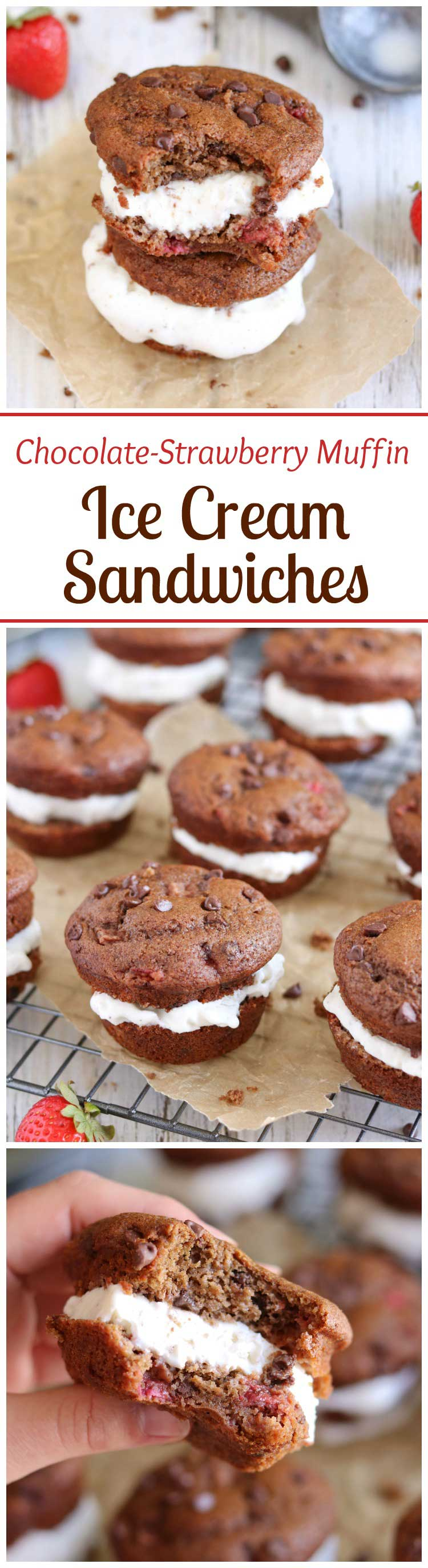 Take delicious, healthy breakfast muffins … add ice cream … and you've got a decadent dessert! Muffin ice cream sandwiches! Bursting with fresh strawberries and double chocolate! One batch of muffins = two great recipes! | www.TwoHealthyKitchens.com
