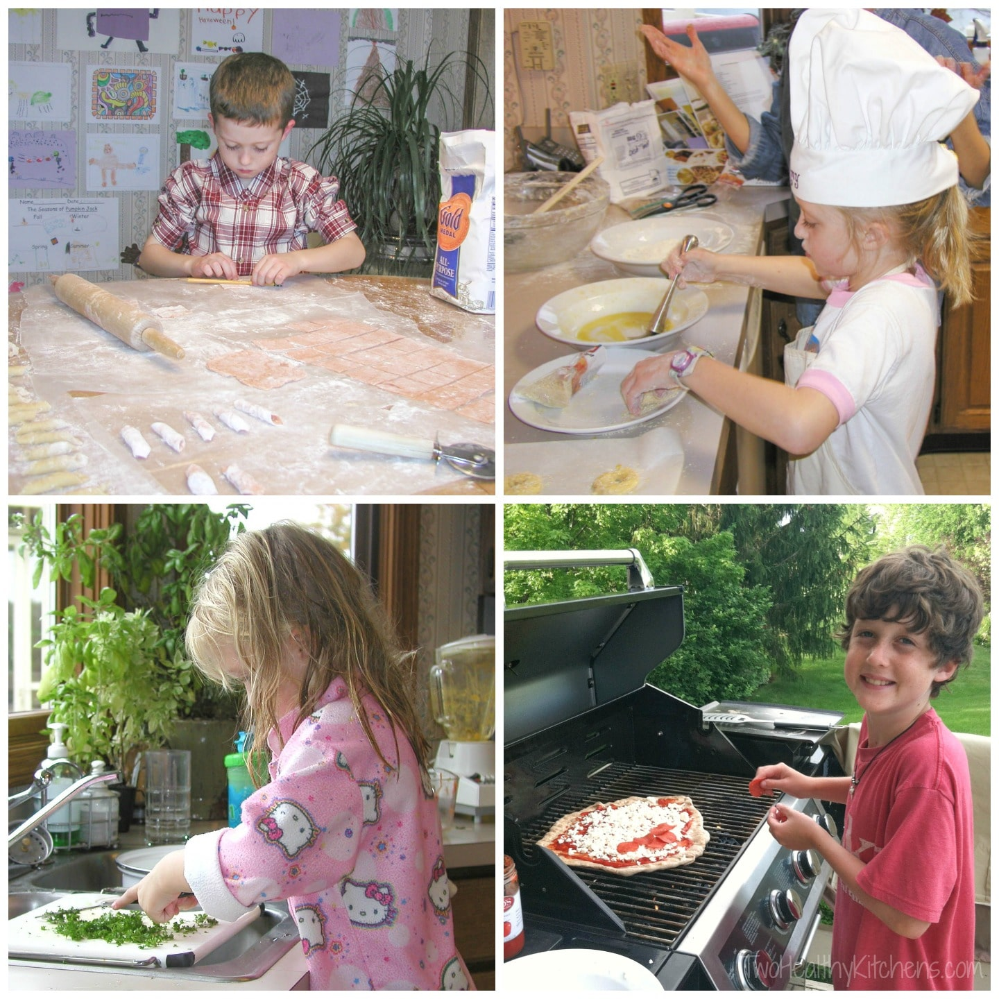 collage of 4 photos of my kids cooking when they were younger