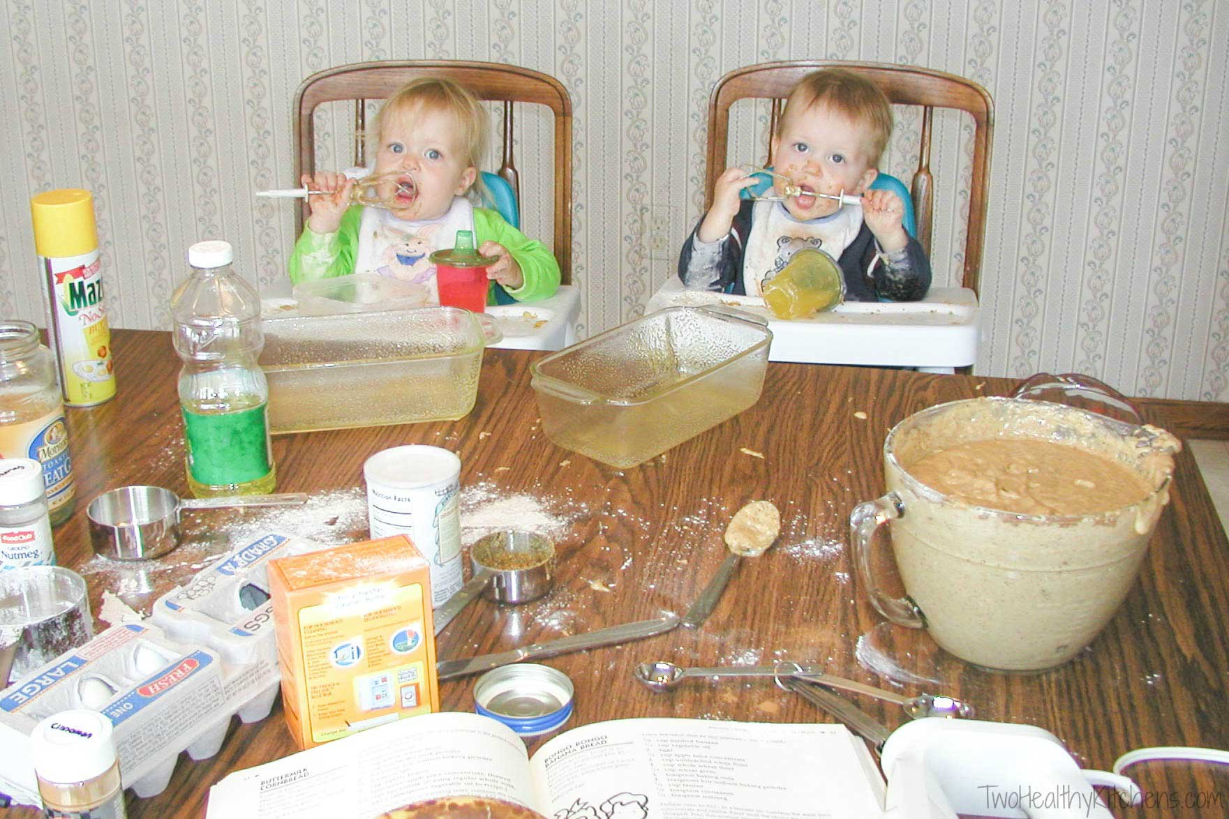 my kids as babies in high chairs, licking beaters and watching as I make a quick bread recipe