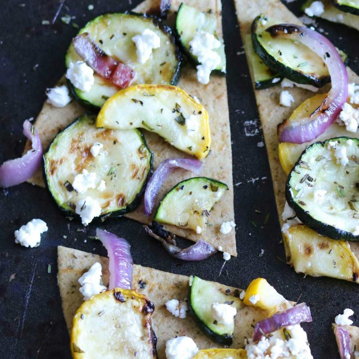 Grilled Zucchini Flatbread with Goat Cheese and Rosemary