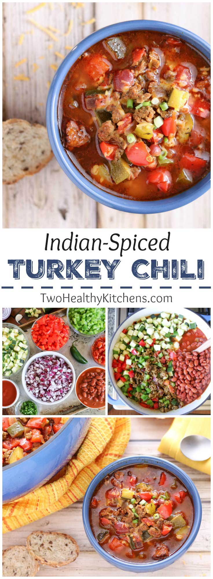 Traditional chili flavors + a unique twist from aromatic Indian spices! Our delicious Indian-Spiced Turkey Chili recipe has all the traditional, savory chili flavors of onions and garlic, simmered with meat and peppers in a rich, tomato-based sauce. But then we layer on the Indian-inspired flavors of curry powder, garam masala, turmeric and cinnamon - for an amazing, easy turkey chili recipe that wins raves … and also chili cook-offs! | www.TwoHealthyKitchens.com