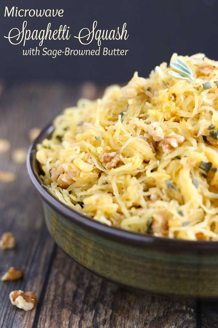 This fantastic recipe for Microwave Spaghetti Squash is easy enough for weeknights, but impressive enough for Thanksgiving dinner and holiday buffets! Rich browned butter with crunchy, toasted walnuts and fragrant sage - amazing! With just 5 ingredients, this easy spaghetti squash recipe is a total snap – yet surprisingly, satisfyingly delicious! Lots of easy tips, too – toasting nuts, browning butter, cooking spaghetti squash perfectly, and stuffed spaghetti squash! | www.TwoHealthyKitchens.com
